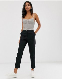 Linen Clean Cigarette Pants-Black