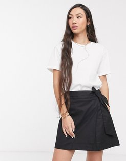 linen wrap mini skirt-Black