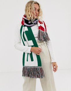 logo print knitted scarf with tassels-Multi