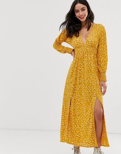 long sleeve ditsy print shirred waist maxi dress with splits-Multi