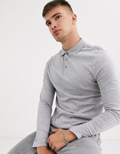 long sleeve jersey polo in gray marl