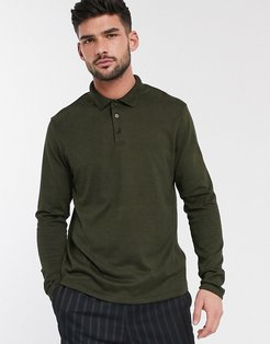 long sleeve polo shirt in heavyweight twisted jersey in green