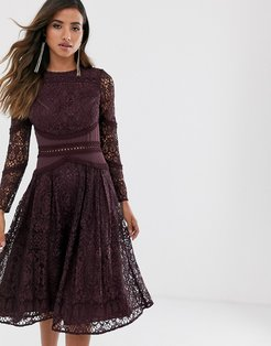 long sleeve prom dress in lace with circle trim details-Purple