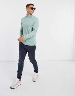 long sleeve roll neck t-shirt in green