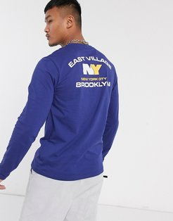 long sleeve t-shirt with back city print-Navy