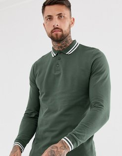 long sleeve tipped pique polo shirt in khaki-Green