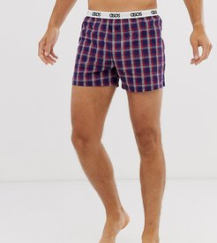 lounge boxer short in navy and red check with branded waistband