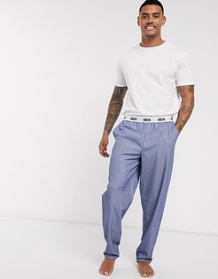 lounge woven pants and tshirt set in light blue with branded waistband-Multi