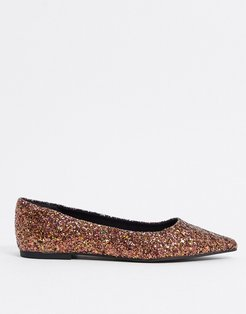 Lucky pointed ballet flats in glitter-Multi