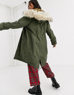 luxe parka with faux fur trim in khaki-Green