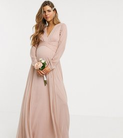 ASOS DESIGN Maternity Bridesmaid ruched waist maxi dress with long sleeves and pleat skirt-Navy