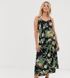 ASOS DESIGN Maternity button through cami maxi dress in tropical print-Multi