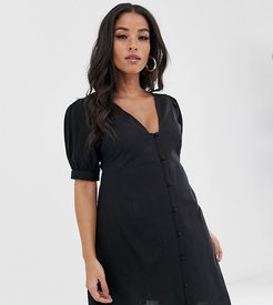 ASOS DESIGN Maternity casual button through mini skater dress with puff sleeve-Black