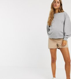 ASOS DESIGN Maternity chino short with under the bump waistband in stone-Beige