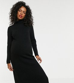 ASOS DESIGN Maternity chunky midi dress with side split in recycled blend-Black