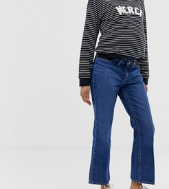 ASOS DESIGN Maternity Egerton rigid cropped flare jeans in dark vintage wash blue with side bump band