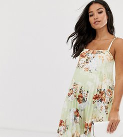 ASOS DESIGN Maternity floral bandeau pleated trapeze mini dress-Multi