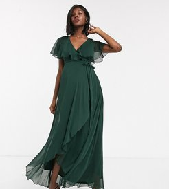 ASOS DESIGN Maternity maxi dress with cape back and dipped hem-Green