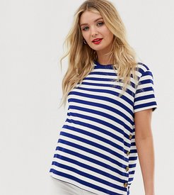 ASOS DESIGN Maternity nursing navy stripe t-shirt with button sides-Multi