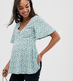 ASOS DESIGN Maternity nursing v neck button front top in daisy floral print-Multi