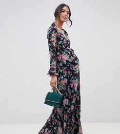 ASOS DESIGN Maternity pleated wrap maxi dress with ruffle in floral print-Multi