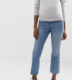 ASOS DESIGN Maternity Recycled Egerton rigid cropped flare jeans in mid stonewash blue with under the bump waistband
