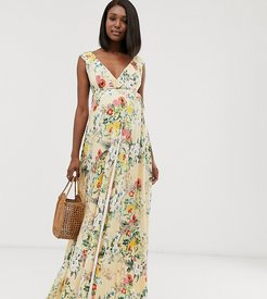 ASOS DESIGN Maternity ruffle wrap maxi dress with tie detail in floral print-Multi