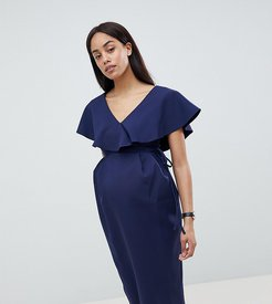 ASOS DESIGN Maternity Ruffle Wrap Midi Dress-Navy