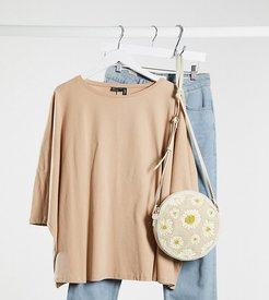 ASOS DESIGN Maternity slouchy top with batwing sleeve in neutral-Beige