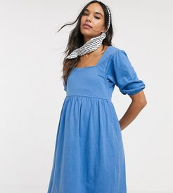 ASOS DESIGN Maternity square neck puff sleeve smock dress in blue