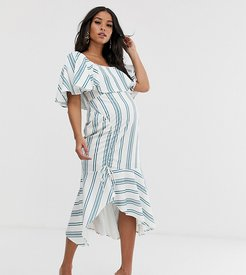 ASOS DESIGN maternity square neck striped midi dress with ruched skirt and pep hem-Multi