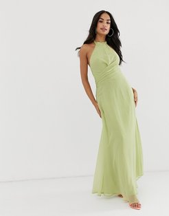maxi dress with high neck and drape waist detail-Multi