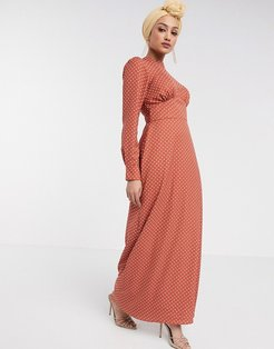 maxi tea dress with buttons in spot-Multi