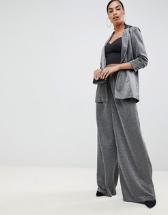 metallic wide leg pants-Silver