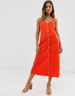 midi slubby cami dress with faux wood buttons in red