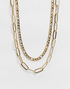 multirow necklace with flat curb and open link chain in gold tone