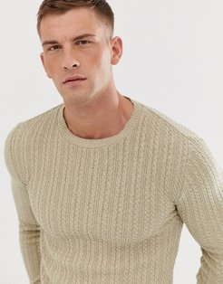 muscle fit lightweight cable sweater in oatmeal-Tan
