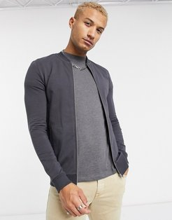 muscle jersey bomber jacket in washed black-Gray
