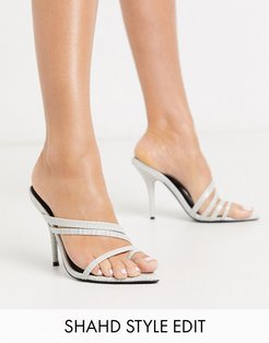 Nirvana pointed insole toe loop heeled sandals in gray croc