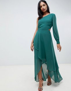 one shoulder blouson sleeve tiered maxi dress-Green