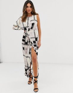 one sleeve satin maxi dress in mono check print-Multi