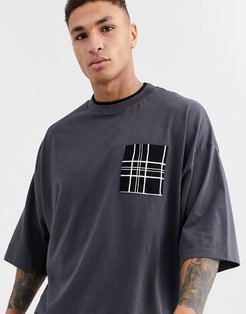 organic cotton oversized t-shirt with double neck layer and large check pocket-Navy