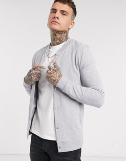 organic jersey muscle bomber jacket in gray marl with poppers