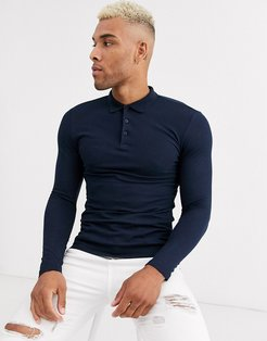 organic muscle fit long sleeve pique polo in navy