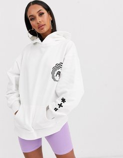 oversized hoodie with sporty logos-White