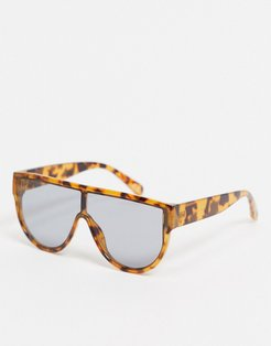 oversized sunglasses with tort detail and smoke lens-Brown