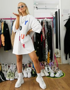oversized t-shirt dress in white with youth slogan