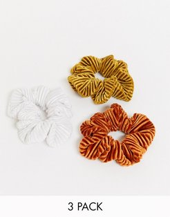 pack of 3 cord scrunchies in rust white and mustard-Multi