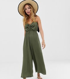 ASOS DESIGN Petite cami jumpsuit with gathered bodice detail-Green