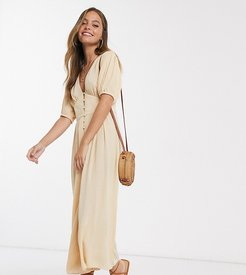 ASOS DESIGN Petite crinkle tea jumpsuit with puff sleeve-Multi